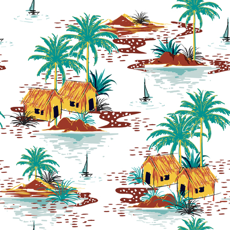 Beautiful colorful seamless island pattern on white background. Landscape with palm trees,beach and ocean vector hand drawn style.