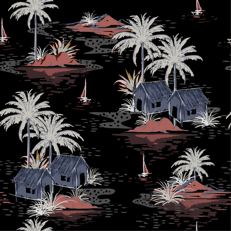 Beautiful seamless Dark night island pattern on black background. Landscape with palm trees,beach and ocean vector hand drawn style.