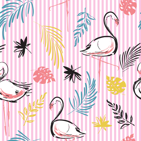 Tropical motif vector of flamingo birds