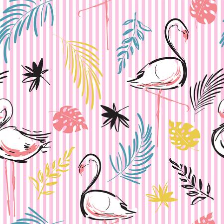 Vecteur de motif tropical d'oiseaux flamants roses