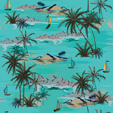 Beautiful seamless island pattern on white background. Landscape with palm trees,beach and ocean vector hand drawn style on green mint color background. Illusztráció