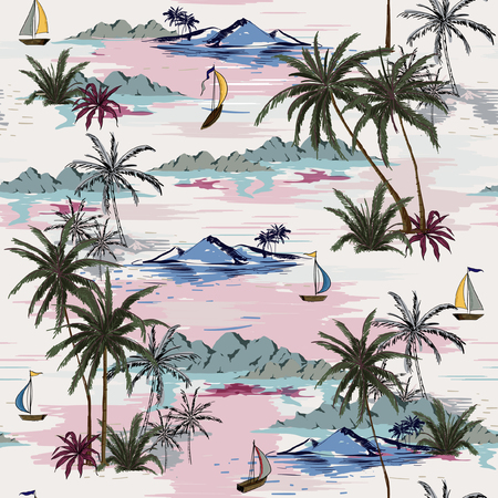 Beautiful seamless island pattern on white background. Landscape with palm trees,beach and ocean vector hand drawn style. 일러스트