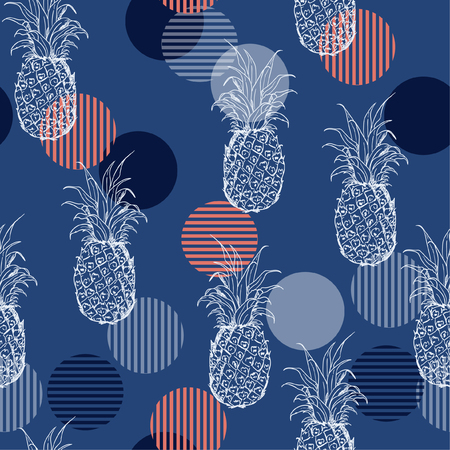 Trendy Summer fresh outline pineapple Seamless  pattern with hand drawing  mix with sweet colorful stripe polka dots Vector illustration repeat on blue background.