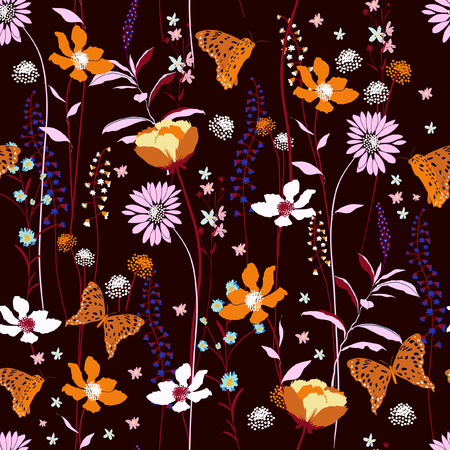 Seamless Pattern wind blow flowers,  Isolated on dark maroon color. Botanical Floral Decoration Texture. Vintage Style Design for Fabric Print, Wallpaper Background. 일러스트