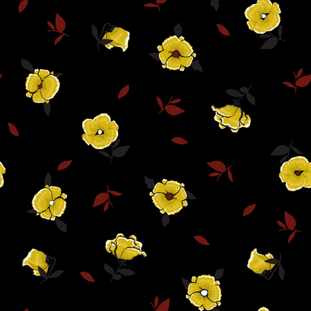 Beauitiful dark wind blowing floral pattern in the many kind of flowers for fashion prints, Printing with in hand drawn style on black background.