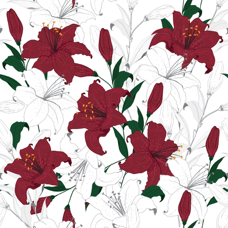 Beautiful outline floral pattern red lily flowers. Botanical Motifs scattered random seamless vector texture for fashion prints.