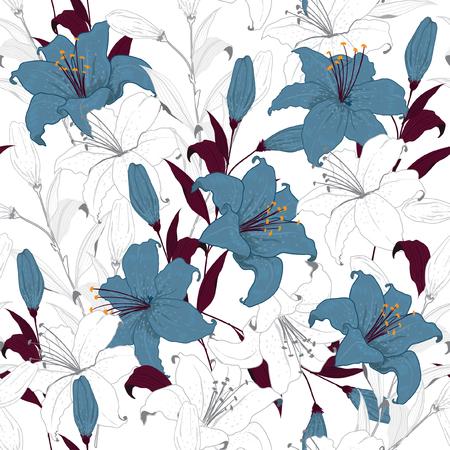 Mooi overzicht Bloemenpatroonleliebloemen, hand getrokken techniek op witte achtergrond in onvolledige stijl