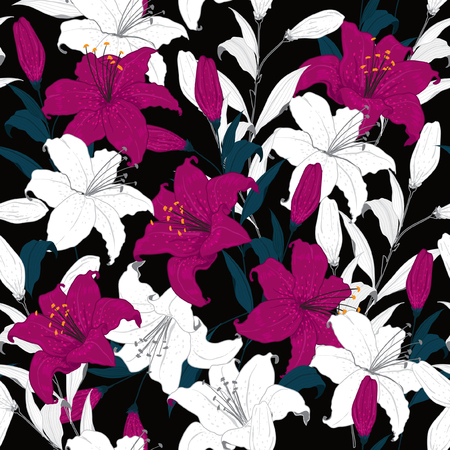 Stylish outline Floral pattern purple lily in hand drawn technic on black background Stock Illustratie