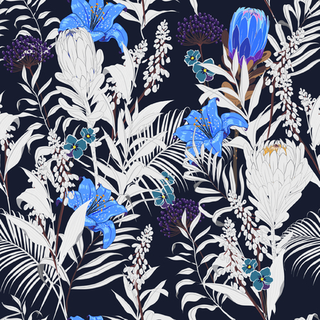 Trendy dark Summer night unfinished garden flowers outline in hand sketch and drawing many kind of floral in seamless pattern vector illustration on navy blue background