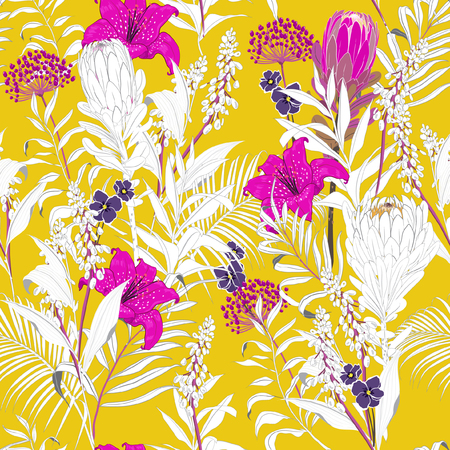 Summer colorful Beautiful unfinished garden flowers outline in hand sketch and drawing many kind of floral in seamless pattern vector illustration on vivid yellow background 일러스트