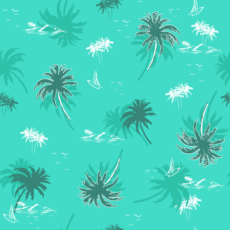 Beautiful seamless island pattern on monotone green mint background for summer vibes . Landscape palm trees,beach and ocean vector hand drawn style.
