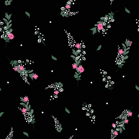 Seamless Pattern wind blow flowers,  Isolated on black color. Botanical Floral Decoration Texture. Vintage Style Design for Fabric Print, Wallpaper Background. Vettoriali