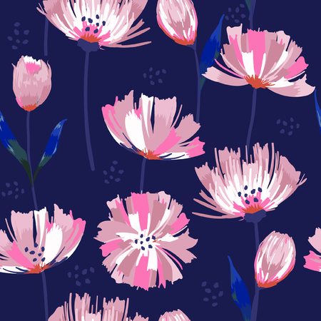 Painted dark blooming garden pink flowers seamless vector Abstract pattern with isolated hand drawn floral on navy blue background.