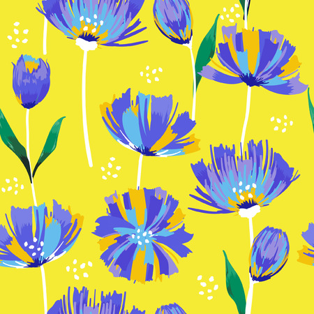 Beautiful summer freshly Trendy Wild blooming flower tulip seamless pattern in a hand drawing style. Ilustracja