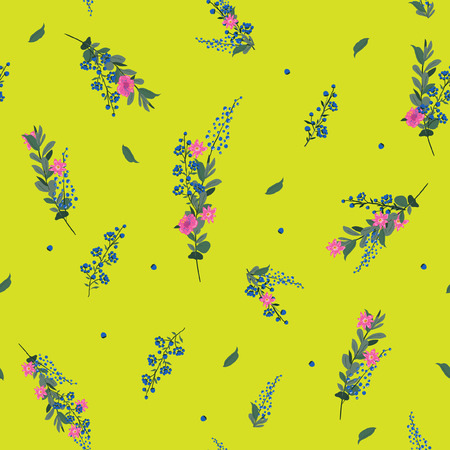 Summer fresh and trendy beautiful Seamless Pattern wind blow flowers, Isolated on vivid yellow color. Çizim