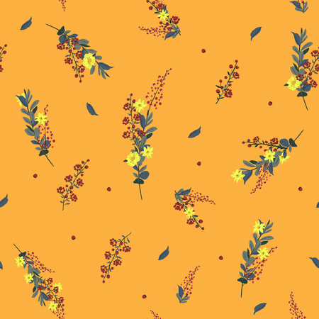 A Seamless Pattern wind blow flowers, Isolated on orange color. Botanical Floral Decoration Texture.