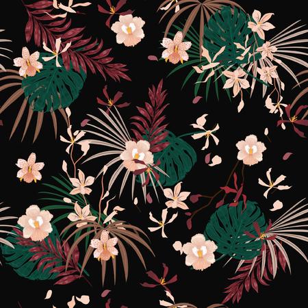 Dark Tropical palm leaves seamless pattern Illustration