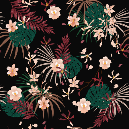 Dark Tropical palm leaves seamless pattern Illustration