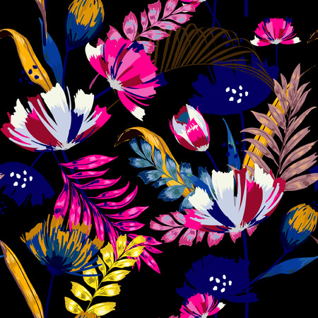 A dark summer night Trendy vector seamless beautiful artistic tropical pattern with exotic forest. Forest original stylish floral background print, colorful rainbow colors on black