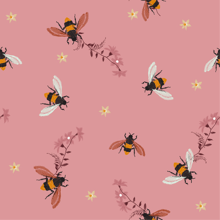 A Cool Embroidery Honey Beewith Wild Flowers Many Kind Of Florals