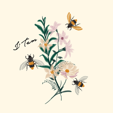Bumble Bee and flower embroidery vector design