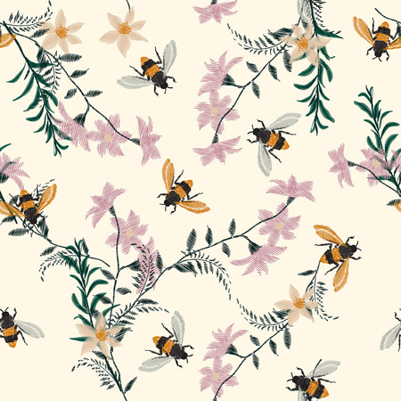 Vintage Embroidery honey bee,with wild flowers  many kind of florals Seamless pattern vector backdrop. Trendy art colorful on light cream color background.