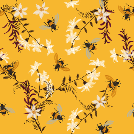 Stylish embroidery Bee, butterfly, and flowers . Vector vintage decorative element for embroidery, patches and stickers on vintage yellow background. Stock Illustratie