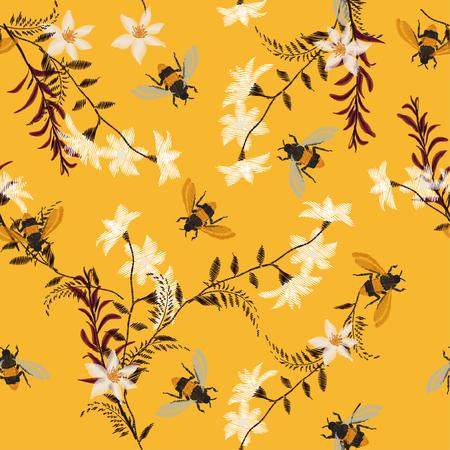 Stylowy haft Pszczółka, motylek i kwiatki. Wektor wzór dekoracyjny element do haftu, łaty i naklejki na vintage żółtym tle.