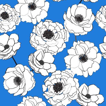 Casuale sparso motivi botanici bianchi dei fiori di fioritura del profilo senza cuciture floreale del modello. Trama vettoriale senza soluzione di continuità. per stampe di moda. Stampa con stile disegnato a mano su sfondo azzurro. Archivio Fotografico - 97015541
