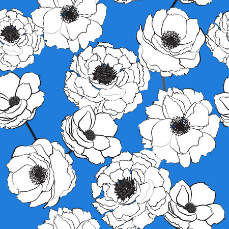 Summer Floral seamless pattern outline white  blooming flowers Botanical  Motifs scattered random. Seamless vector texture.  for fashion prints. Printing with in hand drawn style on sky blue background.