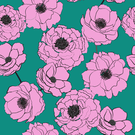 Sweet summer Hand drawn stylish pink  blooming flowers on green mint  leaves and texture background in vector seamless pattern