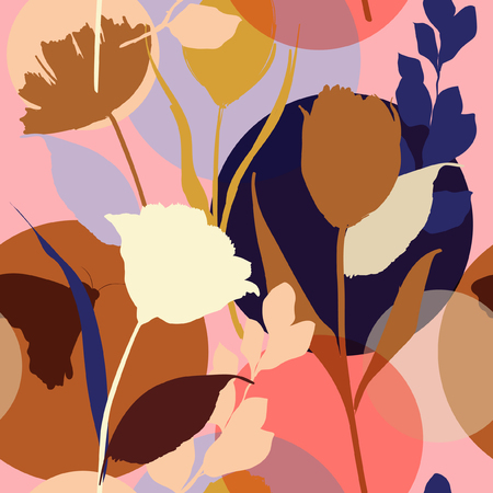 Colorful and bright summer Silhouette Abstract seamless pattern with leaves and flowers Background with flowers vector on modern style.
