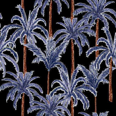 A dark summer palm trees on the black forest  background. Vector seamless pattern. Tropical illustration. Jungle foliage.