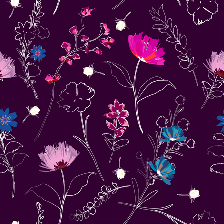 A garden hand drawing outline sketch with paintting florals seamless pattern in vector on stylish beautiful purple color background for fashion and all prints Vettoriali