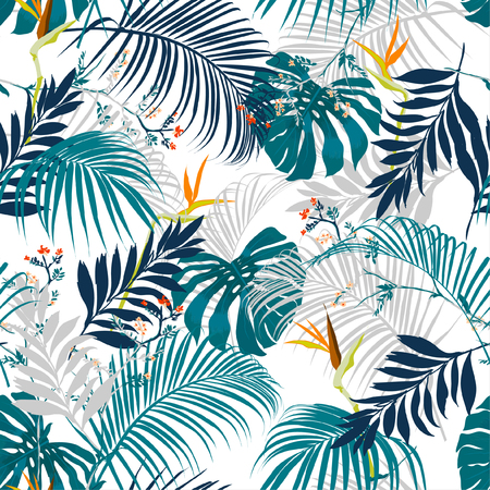 Trendy vector seamless beautiful artistic summer tropical pattern with exotic forest.