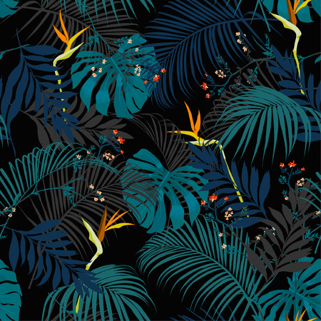 Trendy artistic dark summer tropical pattern with colorful and contrst exotic forest. Bright and original stylish floral background print, forest flower on black background.  Vectores