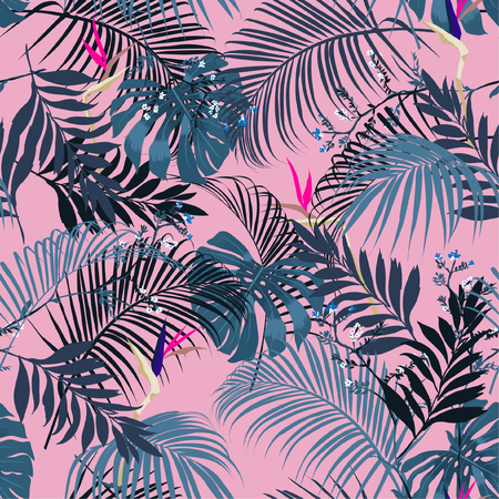 Trendy and beautiful fresh summer tropical forest leeves and flowers seamless vector pattern on sweet pink colorful for fashion and all prints background.
