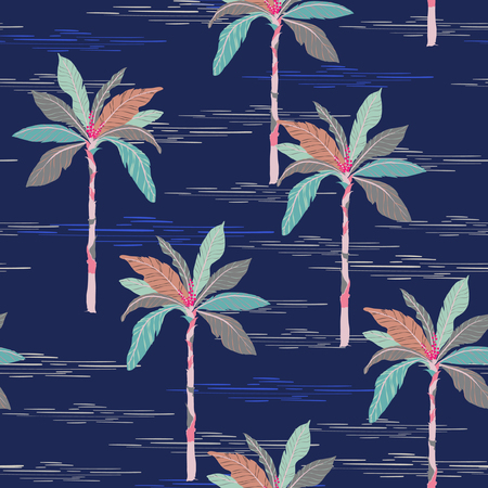 Summer Beautiful seamless island pattern on dark blue background. Landscape with palm trees,beach and ocean vector hand drawn style.