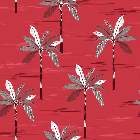A summer palm trees on the stylish red  forest  background. Vector seamless pattern. Tropical illustration. Jungle forest Ilustracja