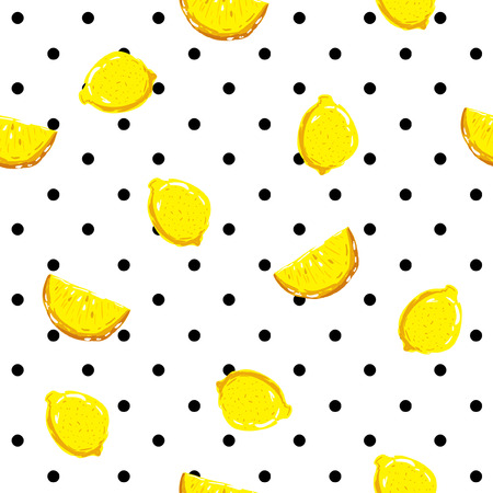 A Seamless fresh lemon pattern with colorful summer on polka dots .vector background.Textile texture on white background.