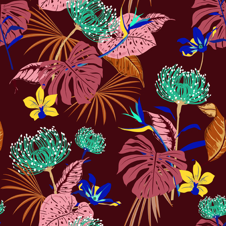 vector seamless beautiful artistic darkt tropical pattern with exotic forest. Colorful original stylish floral background print, bright rainbow flower on stylish dark maroon color