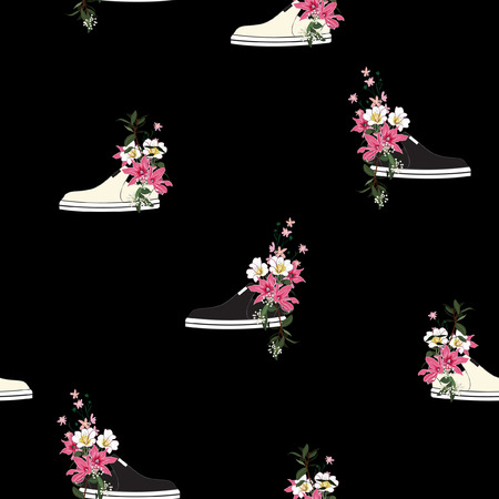 Trendy seamless pattern  sneaker used as blooming flower pots in vector illustrations drawing style on black bakground