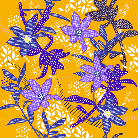 Summer Seamless  pattern vector garden blue  flower in hand painting style mix line and polka dots fill in on stylish yellow background 矢量图像