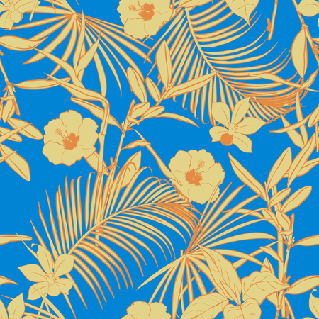 Beautiful vintage  Outline bright summer forest   palm trees and tropical  on fresh sky blue background. Vector seamless pattern. Exotic illustration. Jungle foliage.