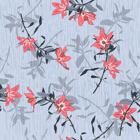 Bright summer Beautiful garden flowers with shadow on light grey background texture seamless pattern vector for fashion and all prints Illustration