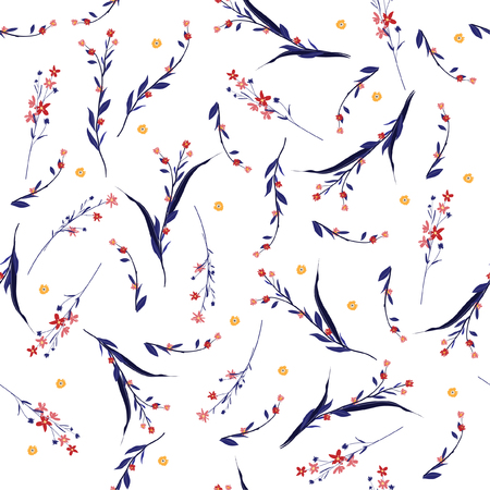 Trendy Floral pattern blowing flowers. Botanical and meadow Seamless vector texture. Elegant template for fashion prints.
