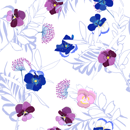 Trendy bright Summer blooming garden outline and hand painting flowers many kind of floral in seamless pattern vector illustration on white background