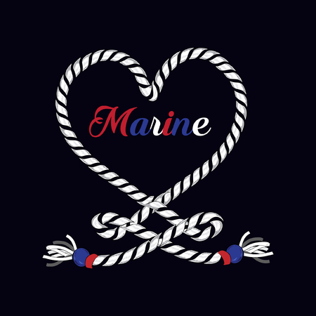 Marine text with rope in heart form vector illustration Иллюстрация