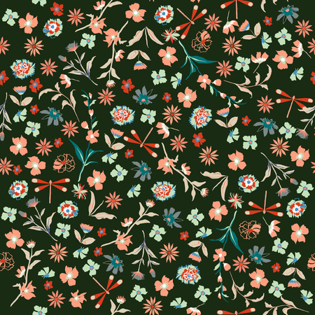 Vintage beautiful liberty seamless floral pattern. Background in small colorful flowers for textiles, fabrics, cotton fabric, covers, wallpaper, print, gift wrapping, postcard, scrapbook on dark green background. Vetores