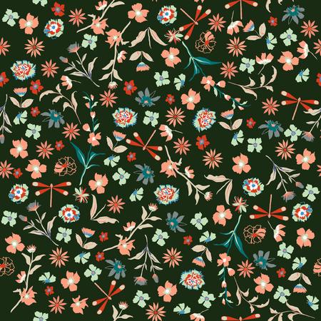Vintage hermosa libertad sin patrón floral. Fondo en pequeñas flores coloridas para textiles, telas, tela de algodón, fundas, papel tapiz, impresión, envoltura de regalos, postal, álbum de recortes sobre fondo verde oscuro. Ilustración de vector